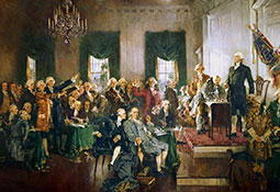 George Washington of Virginia presides over the Federal Convention of 1787 as delegates sign the U.S. Constitution at Independence Hall in Philadelphia.