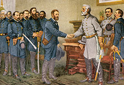 Robert E. Lee surrendering in a farmhouse to Union commander Ulysses S. Grant.